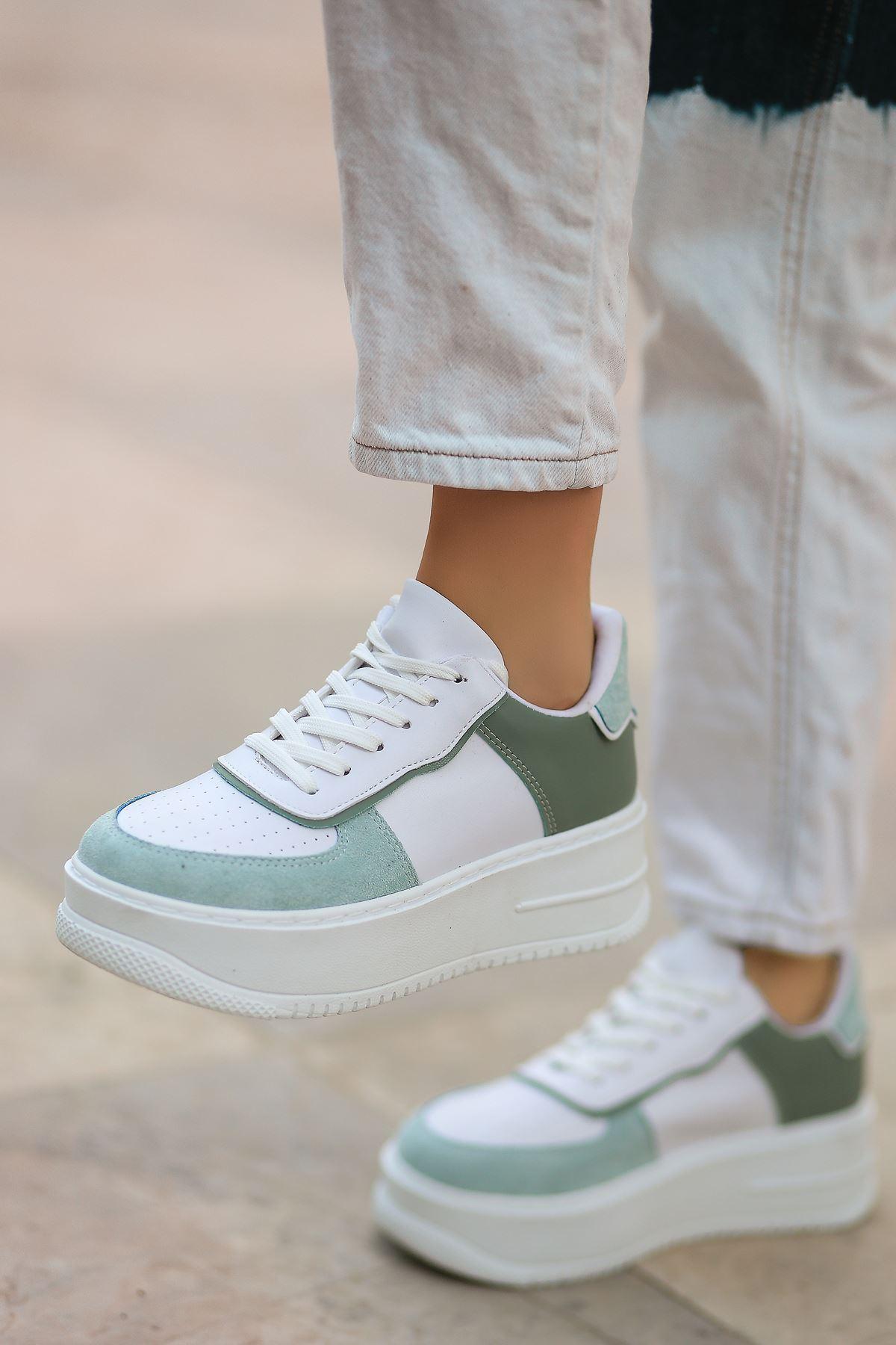 Rms Mat Deri Bağıcıklı Kadın Spor Ayakkabı Yeşil