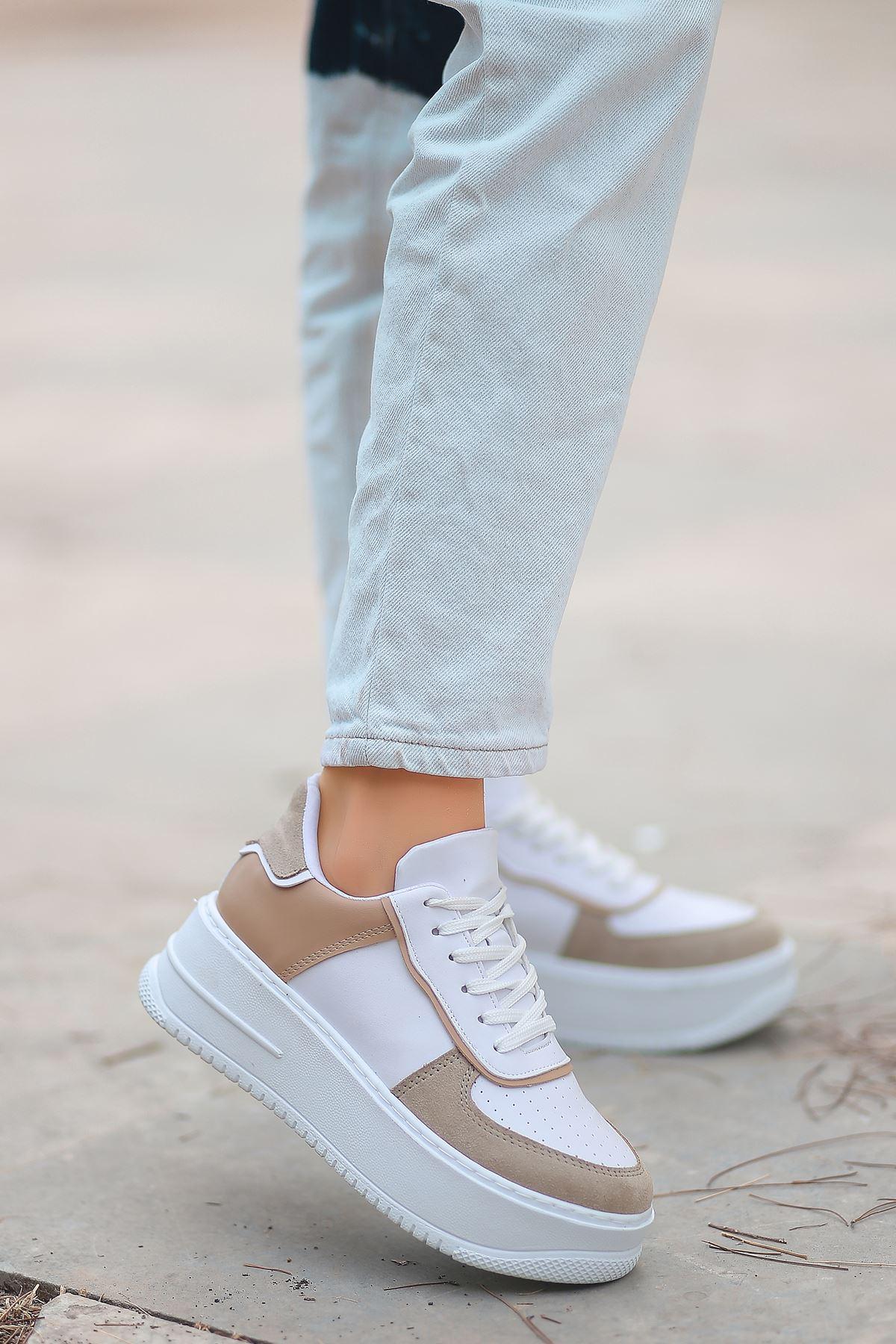 Rms Mat Deri Bağıcıklı Kadın Spor Ayakkabı Vizon