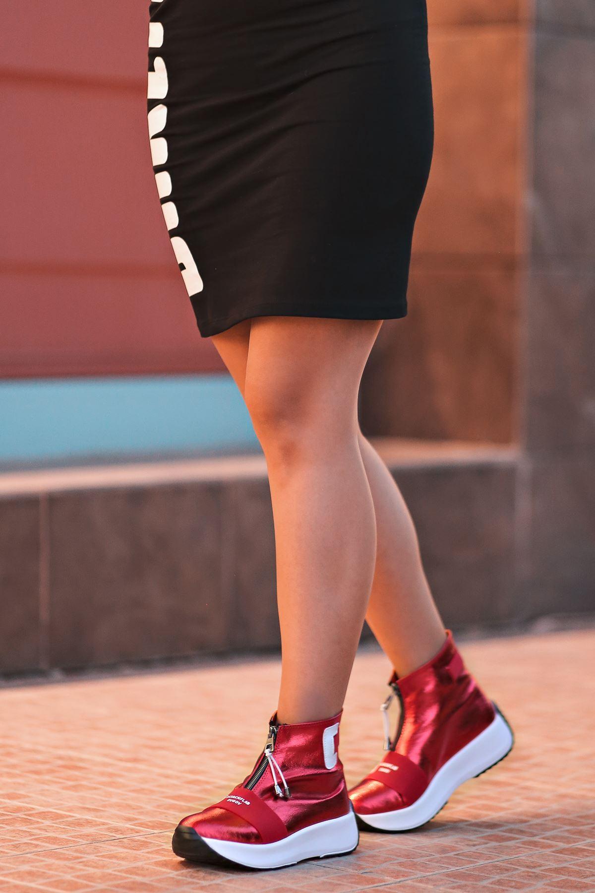 Enjoy Fermuar Detaylı Kadın Bot Kırmızı