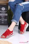 Flor Lastik Detay Likralı Triko Kadın Sandalet Kırmızı