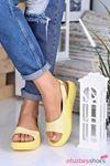 Valeria Mat Deri Tek Bant Kadın Sandalet Sarı