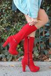 Rumeya Süet Toka Detay Platform Çizme Kırmızı