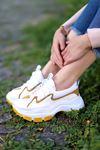 Nice Dalgıç Kumaş Detaylı Bağcıklı Hardal Parçalı Beyaz Kadın Spor Ayakkabı