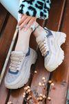 Pump Kapitone Detaylı Bağcıklı Vizon Kadın Spor Ayakkabı