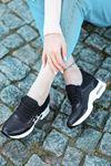 Laney Hava Tabanlı Etiket Detaylı Kadın Spor Ayakkabı Siyah