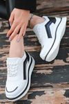 Kartel Bağcık Detaylı Delikli Hologramlı Beyaz Kadın Spor Ayakkabı