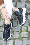 Gabi Bağcık Detaylı Hologram Parçalı Siyah Kadın Spor Ayakkabı