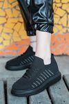 That Bağcık Detay Siyah Triko Kadın Spor Ayakkabı