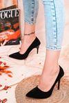 Ruha Yüksek Topuklu Siyah Süet Kadın Stiletto