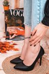 Ruha Yüksek Topuklu Siyah Mat Deri Kadın Stiletto