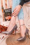 Ruha Yüksek Topuklu Platin Rugan Kadın Stiletto