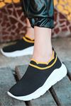 Levin Sarı Şeritli Siyah Triko Kadın Spor Ayakkabı