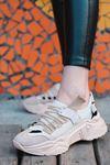 Jabel Siyah Parçalı Bağcıklı File Detaylı Vizon Süet Kadın Spor Ayakkabı