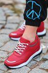For514 Delikli Kırmızı Bağcık Detaylı Kadın Spor Ayakkabı