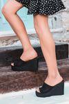 Cesta Siyah Örgü Kadın Dolgu Topuk Terlik