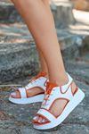 Lace Mat Deri Bağcık Detay Sandalet Turuncu