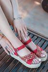 Işıl Süet Renkli Çapraz Detay Kadın Sandalet Kırmızı
